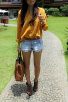 vintage blouse - Zara boots - Michael Kors bag - Forever 21 shorts