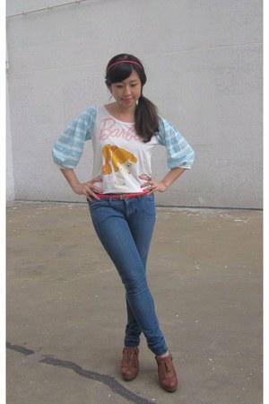 jeggings Uniqlo jeans - fringe lowry farm clogs - Uniqlo t-shirt - red no brand