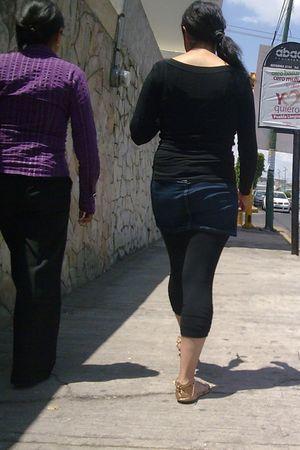 black leggings - blue skirt