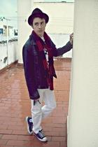 blue Zara jacket - white Zara jeans - white Springfield t-shirt - black BLANCO h