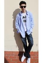 blue shirt - white Karl Lagerfeld t-shirt - white vICTORIA shoes - blue BLANCO j
