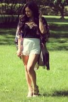 camel shoes - white shorts