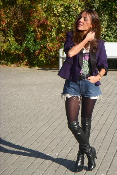 black Bimba & Lola boots - blue Levis jeans - purple Silence Noise blazer