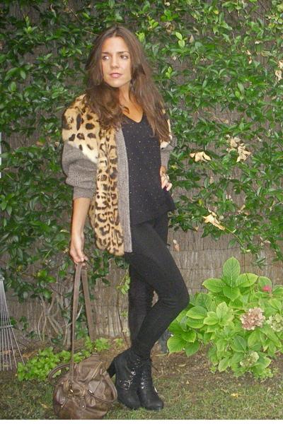 Zara leggings - Zara sweater - Zara boots - Misako purse - vintage coat