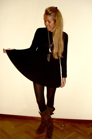 black Zara dress - brown Zara boots - gold vintage necklace - black H&M tights