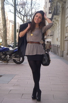 beige Zara top - black Aldo shoes - black pull&bear skirt - black Bimba & Lola p