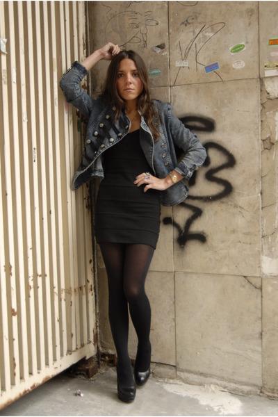 black H&M dress - black Aldo shoes - black H&M tights - blue Forever 21 jacket