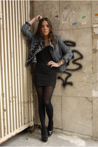 black H&M dress - black Aldo shoes - black H&M tights - blue Forever 21 jacket