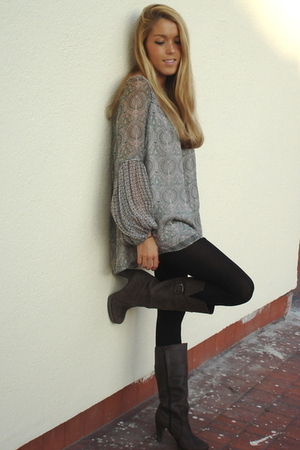 Zara blouse - H&amp;M leggings - Zara boots