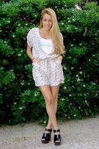 beige Zara dress - black Zara shoes - white Zara t-shirt