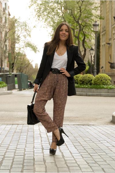 black Aldo shoes - black Zara blazer - black vintage bag - black Hermes belt