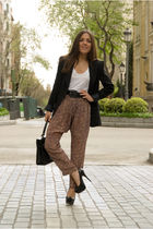 black Aldo shoes - black Zara blazer - black vintage bag - black Hermes belt