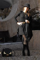 black American Apparel skirt - black Zara top - black H&M tights - Zara shoes -
