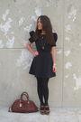 Black-asos-dress-black-h-m-tights-brown-marc-by-marc-jacobs-purse-zara-sho