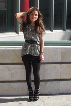 black Aldo boots - black H&M skirt - black H&M tights - black Maje t-shirt - bla
