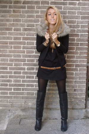black DIY jacket - black hakei boots - black Zara dress - black H&M tights