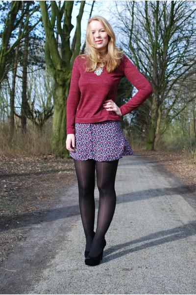 burgundy lace Bershka sweater - black velvet H&M shoes - flower button H&M skirt