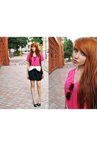 hot pink new look t-shirt - black unknown brand skirt - black Zara heels