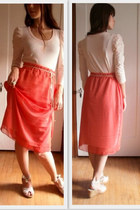 sheer red skirt