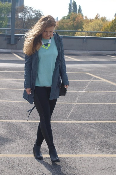 teal jacket - aquamarine sweater