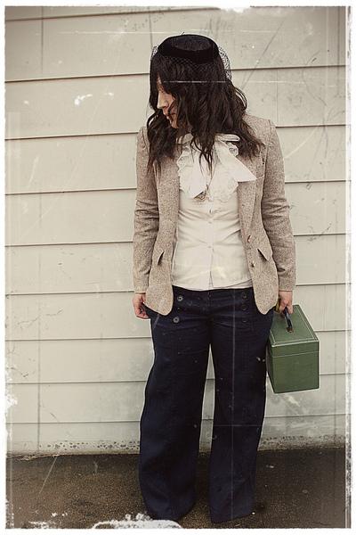 hat - blouse - blazer - pants - purse - necklace