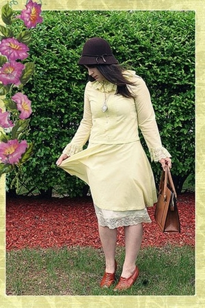 brown Forever 21 hat - brown shoes - yellow dress - brown purse - pink necklace