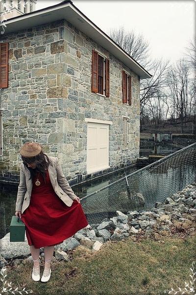 dress - blazer - shoes - purse - hat - necklace