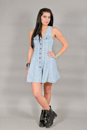 blue denim button up BWB Best World Brand dress