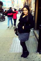 black wedges Forever 21 boots - charcoal gray tulle Forever 21 skirt