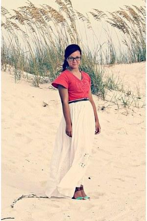 aquamarine wedge sandals BCBG shoes - salmon shirt - white H&M skirt