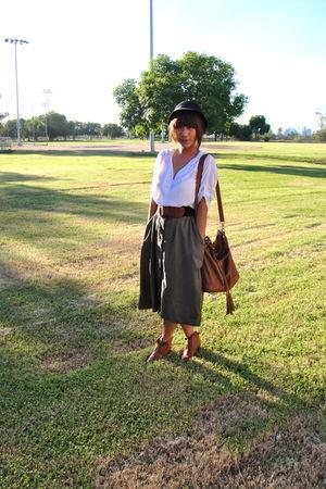 black Forever 21 hat - green unbranded skirt - white Forever 21 - brown Aldo bag