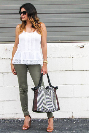 white Mossimo top - olive green H&M jeans - black Target bag