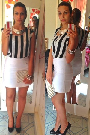 white unknown brand bag - silver iron Piazza Italia necklace - Zara skirt