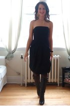 black Aldo boots - black Jacob dress - black H&M coat