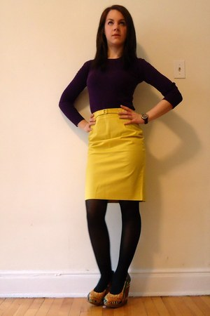 yellow Jacob skirt - deep purple Forever 21 sweater - Aldo wedges