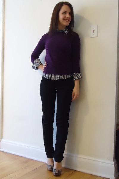 Purple Forever 21 Sweaters, Purple Plaid Talula Shirts, Black ...