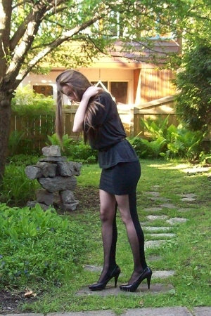 American Apparel shirt - American Apparel dress - either or stockings - Nine Wes