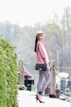 black skinny jeans Hudson jeans - ivory J Crew hat - black Chanel bag