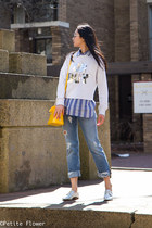 yellow Louis Vuitton bag - blue mih jeans - blue madewell shirt