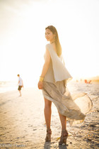 beige rick owens lilies top - heather gray raquel allegra skirt