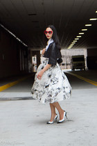 white custom made skirt - white Roger Vivier shoes