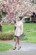 light pink tweed Chanel coat - silver Bao Bao Issay Miyake bag
