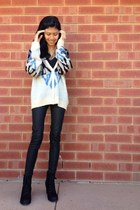 Rubi shoes boots - faux leather asos pants - chicabooti cardigan