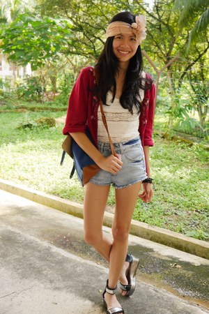 ruby red Laura Ashley cardigan - koumikoumi shoes - chicabooti shorts