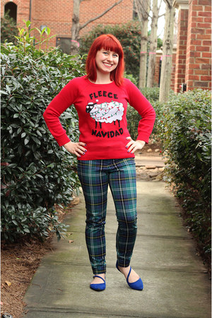 red LOL Vintage sweater - dark green Old Navy pants - blue pointed Delias flats