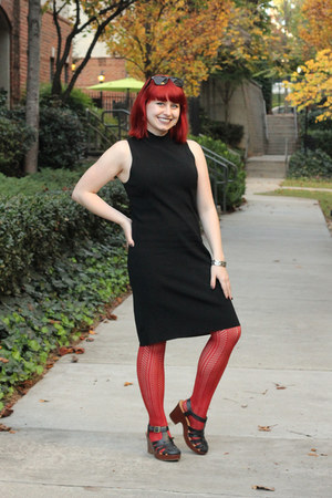 black dress - burnt orange patterned Forever 21 tights