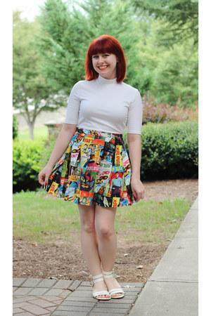 white mock neck Forever 21 top - orange handmade skirt