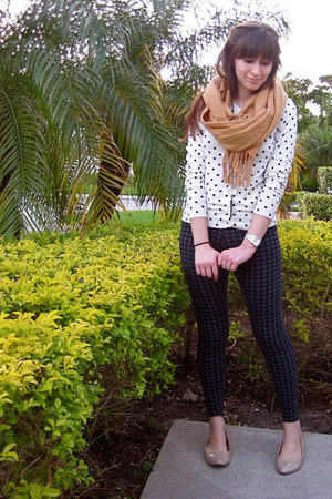 houndstooth tights - scarf - polka dot cardigan - pointy toe-nude flats