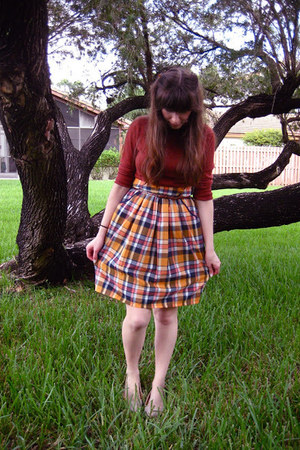 plaid skirt - cardigan