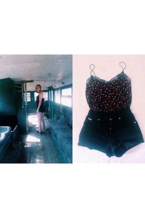 black with lace Bershka shirt - black jeans vintage shorts